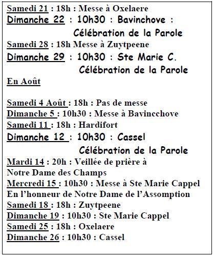 Messe en juillet et aout 1