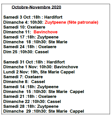 Messe octobre novembre