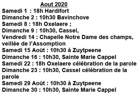 Messes en aout 2020