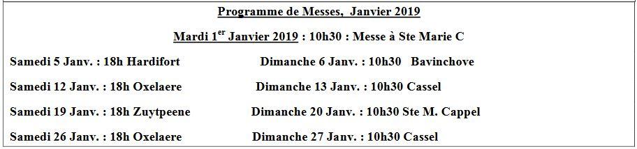 Messes en janvier 2019