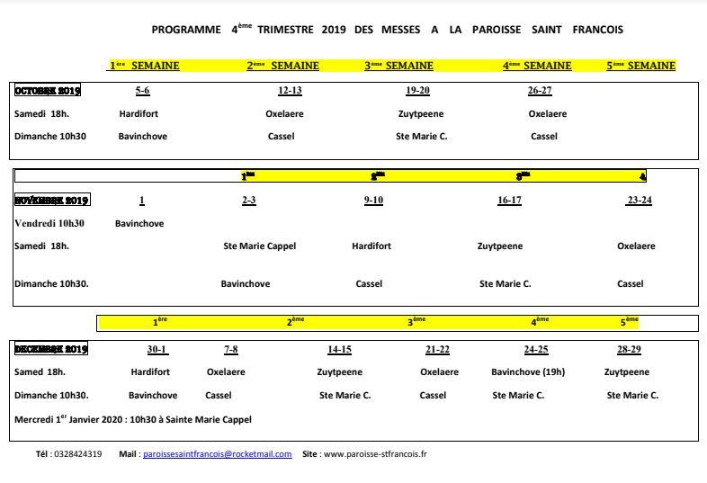Messes jusqu au 1er janvier 2020