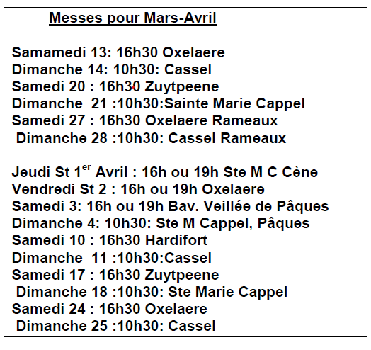 Messes mars avril 2021
