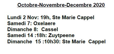 Messes octobre novembre decembre 1
